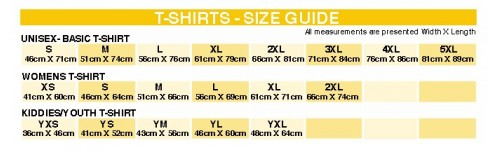 T-SHIRT SIZE GUIDES